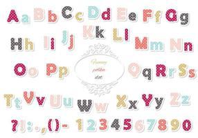 Leuke polka dot gekleurde lettertype voor kinderen. vector