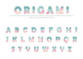 Modern origami feestelijk lettertype in pastelkleuren. vector
