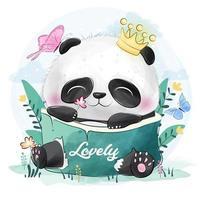 Schattige kleine panda en vlinders