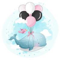 Schattige kleine walvis die met ballon vliegt