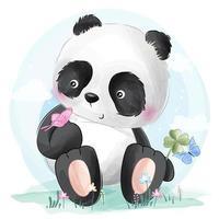 Schattige kleine panda die met vlinder speelt