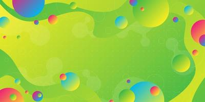 Heldergroene gele gradiëntachtergrond met overlappende kleurrijke vormen