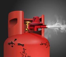 Oude geroeste rode gas of chemische tank