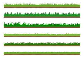 Collectie van groen gras grens set vector