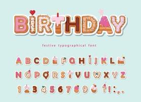 Taart cartoon lettertype. vector