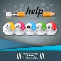 Potlood, onderwijs, help, idee pictogram. Zakelijke infographic. vector