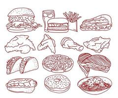Fast Food Line Art Collection