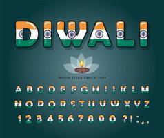 Diwali cartoon lettertype. Indiase nationale vlag kleuren.