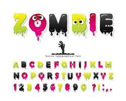 Zombie halloween lettertype. vector