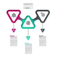 Driehoeken label infographic met stap voor stap. vector