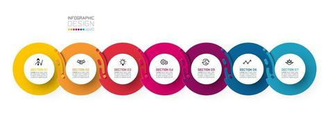 Zeven harmonieuze cirkel infographics.