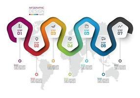 Pentagon label met kleurlijn gekoppelde infographics.