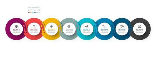 Acht harmonieuze cirkel infographics.