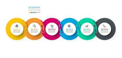 Zes harmonieuze cirkel infographics.