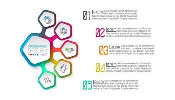Vijfhoeken label infographic met 5 stappen.