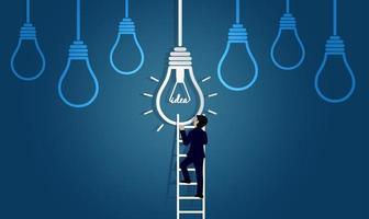 zakenman race lopen op trap ga naar lamp vector