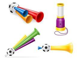 hoorn attributen voetbal voetbal en sportfans vector illustratie