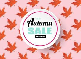 Herfst verkoop ontwerp met herfstbladeren op roze