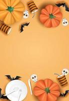 Verticaal halloween-ontwerp met servies, vleermuizen en pompoenen op oranje