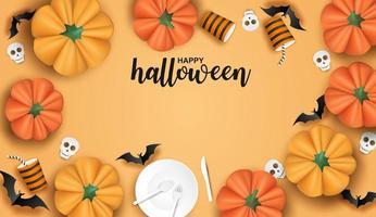Halloween-ontwerp met servies, vleermuizen en pompoenen op oranje
