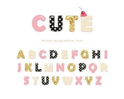 Schattig girly lettertype. vector