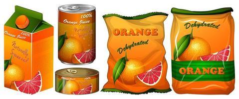 Gedehydrateerde sinaasappel in verschillende verpakkingen vector