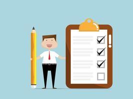 zakenman met checklist papier op klembord