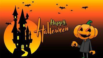 pompoen happy halloween oranje achtergrond