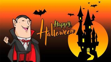 dracula happy halloween oranje achtergrond vector