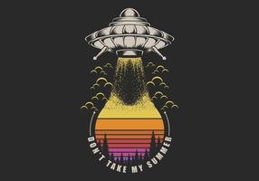 UFO zonsondergang retro illustratie te nemen vector