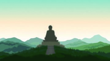Boeddha in meditatie standbeeld silhouet