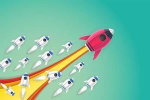 Rocket lancering idee papier kunststijl