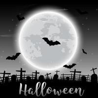 Halloween-tekst en donkere kasteel en vleermuizen op maanachtergrond