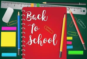 Terug naar school Titelwoorden met realistische schoolitems