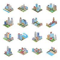 Stadsgezicht gebouwen isometrische vectoren