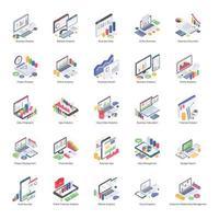 Zakelijk Analytics-pakket van isometrische pictogrammen
