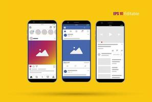 Modern Social Media nieuw feed-, post- en startpaginamodel met smartphone en bewerkbare achtergrond