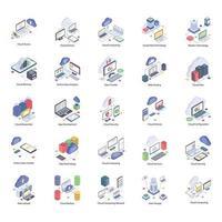 Pictogrammen voor cloudtechnologie vector