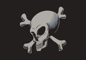 Buitenaardse schedel gekruist bot illustratie