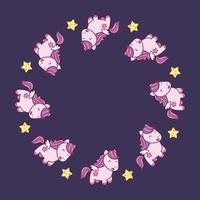 Rond frame met schattige kawaiistijlpaarden en sterren. vector