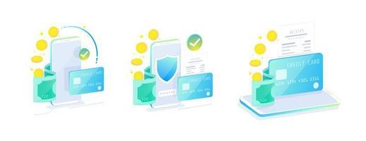 Online mobiel bankieren en internetbankieren isometrisch ontwerpconcept