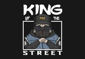 Pug die hoed en jasje met koning van de illustratie van de straattekst draagt