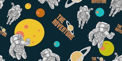 Spaceman hand getekend patroon vector