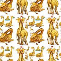 Naadloze giraf in verschillende acties vector