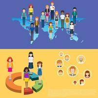 Wereldkaart en mensen infographic