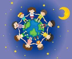 Gelukkige kinderen rondom de aarde