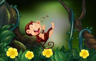 Gelukkige aap in het diepe bos