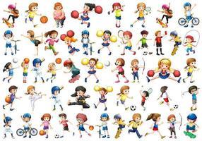 Diverse kinderen die op witte achtergrond worden geplaatst vector