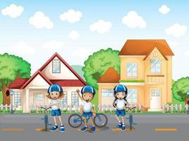 Drie schattige fietsers op de weg vector