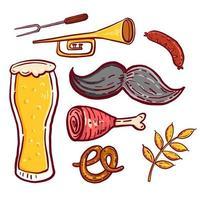 Octoberfest doodle pictogram ingesteld op geïsoleerde witte achtergrond vector